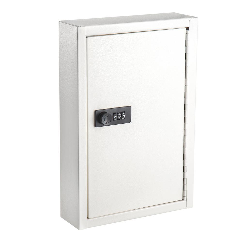 40-Key Steel Heavy-Duty Key Cabinet with Combination Lock, White