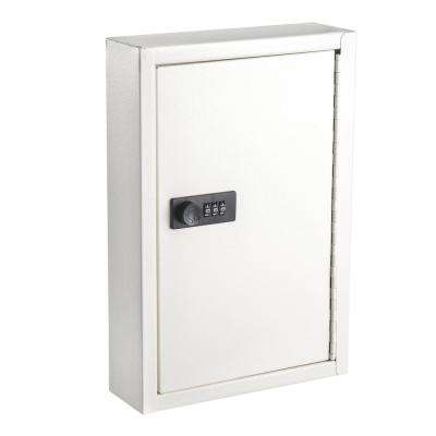 40-Key Steel Heavy-Duty Key Cabinet with Combination Lock, White