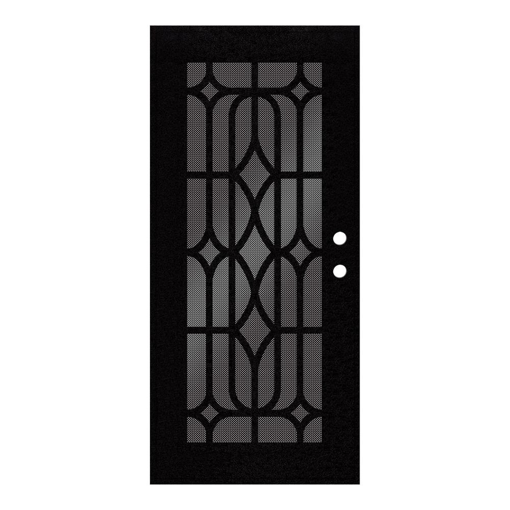 Unique Home Designs 30 In X 80 In Essex Black Left Hand Surface Mount Security Door With Black