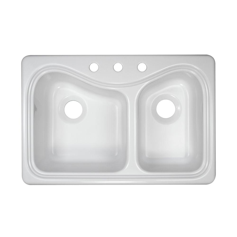 Lyons Industries Connoisseur Drop-In Acrylic 33x22x9 in. 3-Hole 60/40 Double Basin Kitchen Sink in White