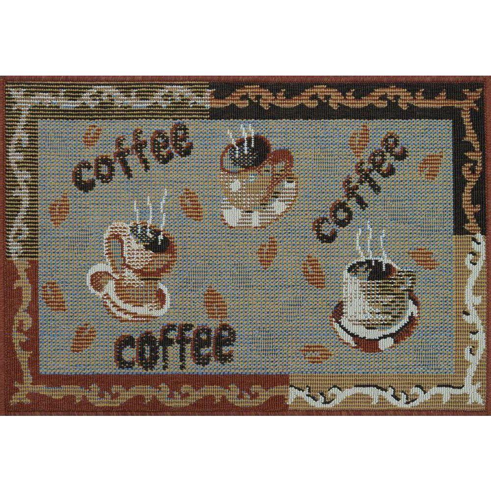 Loloi Rugs Augusta Lifestyle Collection Multi Coffee 1 ft. 9 in. x 2 ft. 9 in. Accent Rug-DISCONTINUED