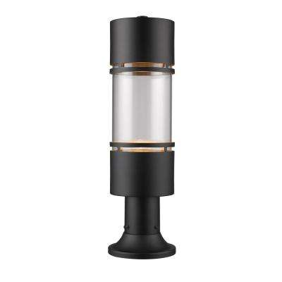 Kadhi 1-Light Black LED Outdoor Post Mount with Clear Glass