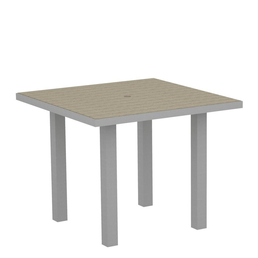 Euro Textured 36 in. Silver Square Patio Dining Table with Sand