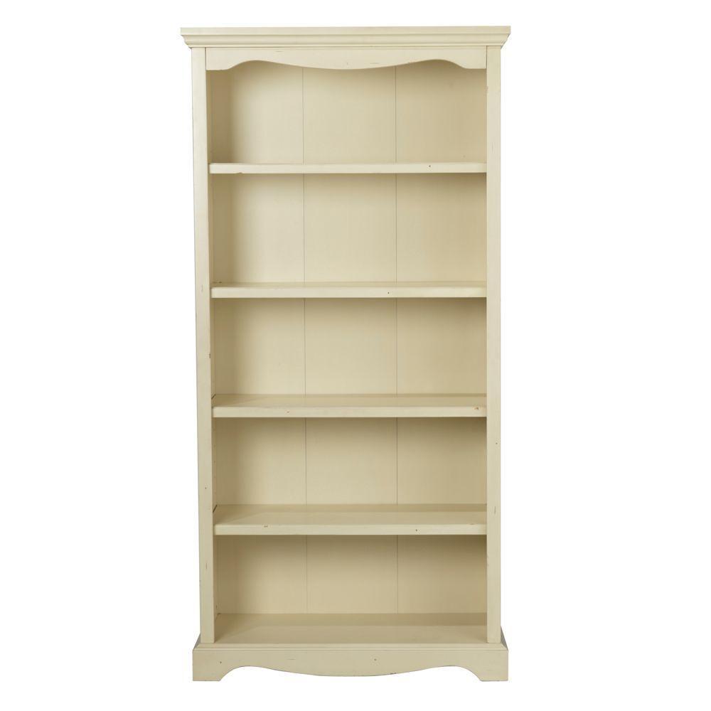 Home Decorators Collection Sheffield Antique White 5-Shelf Open Bookcase