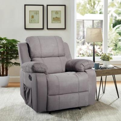 Gray Suede Heated Massage Ergonomic Recliner Sofa Lounge Chair with 8-Vibration Motors