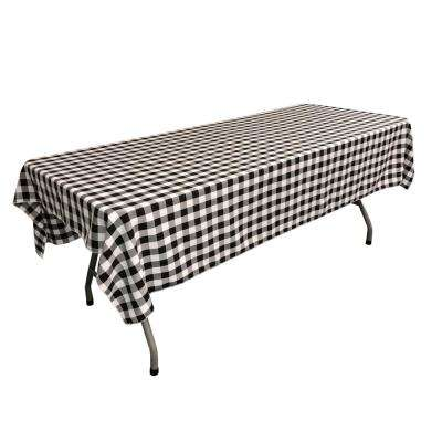 60 in. x 102 in. White and Black Polyester Gingham Checkered Rectangular Tablecloth