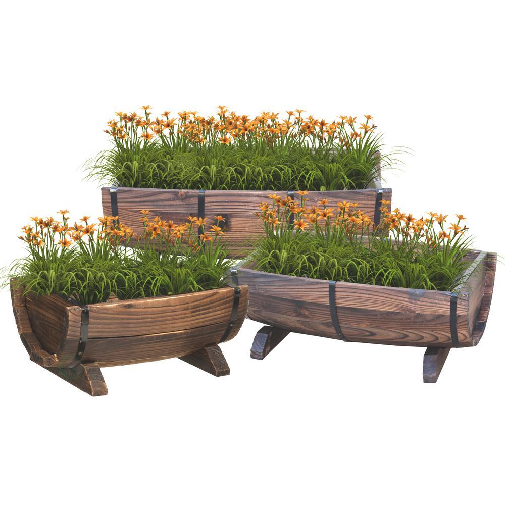 vintiquewise half barrel garden planter set of 3. Black Bedroom Furniture Sets. Home Design Ideas