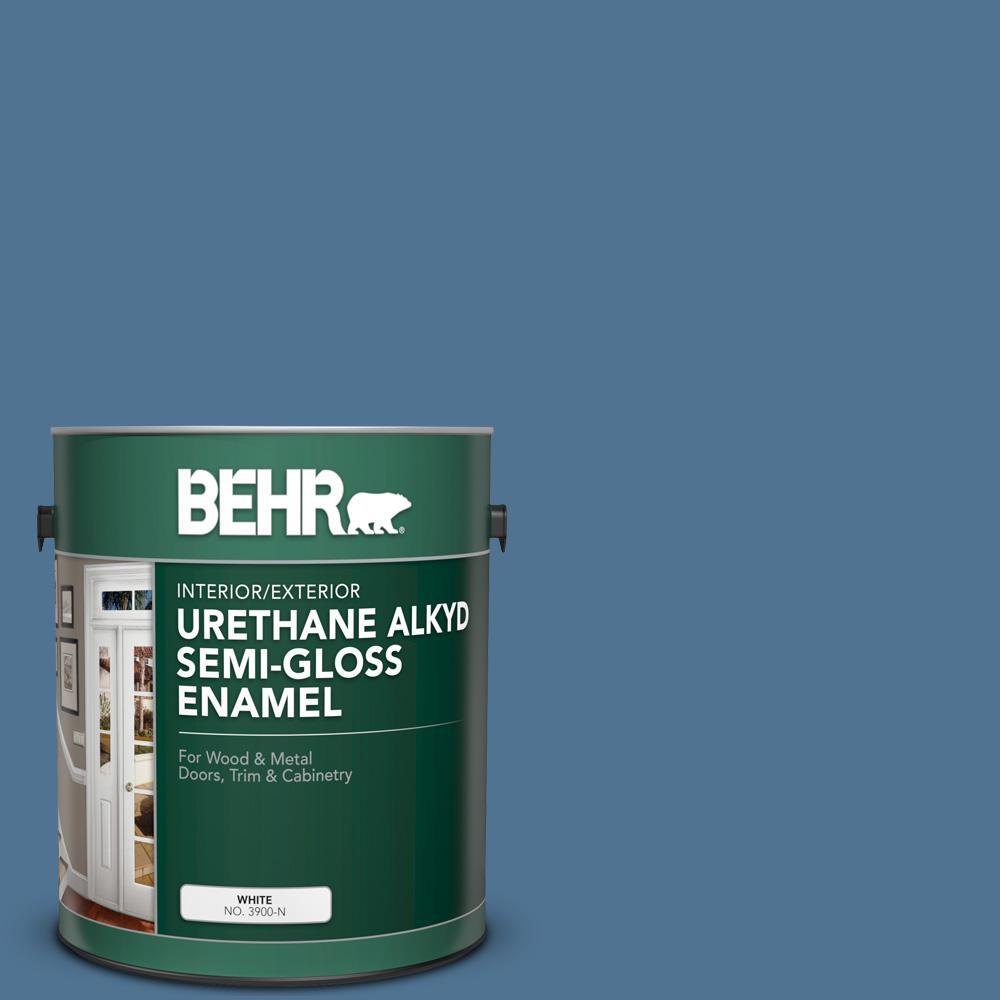 1 gal. #PPU14-18 Laguna Blue Urethane Alkyd Semi-Gloss Enamel Interior/Exterior Paint