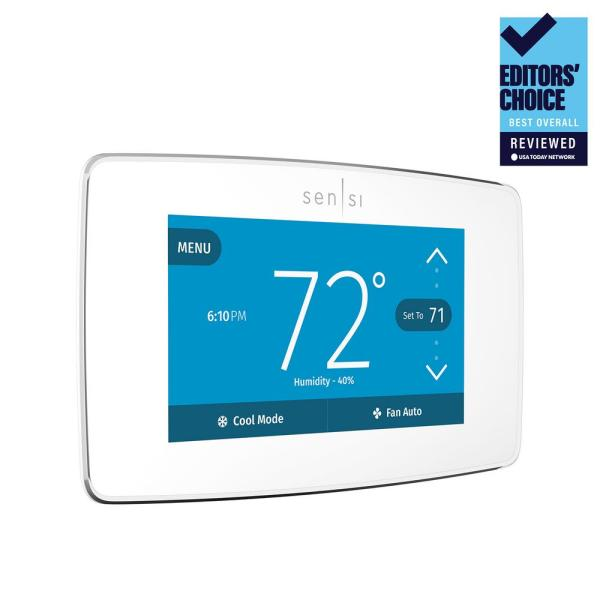 Emerson Sensi Touch Wi-Fi Smart Thermostat with Touchscreen Color Display, C-Wire Required