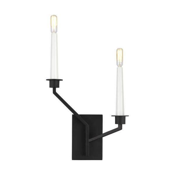 ED Ellen DeGeneres Crafted by Generation Lighting Hopton 4.75 in. Midnight Black Left Double Sconce