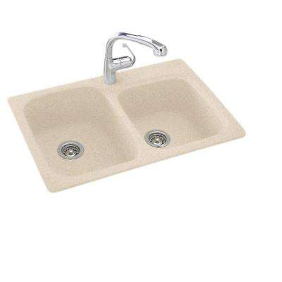 Drop-In/Undermount Solid Surface 33 in. 1-Hole 55/45 Double Bowl Kitchen Sink in Bermuda Sand