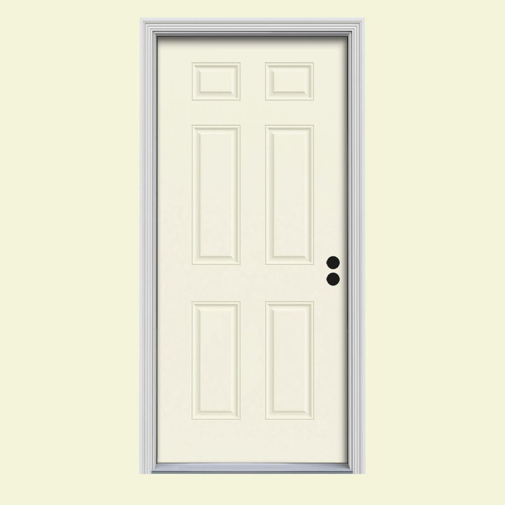 JELD-WEN 34 in. x 80 in. 6-Panel Vanilla Painted Steel Prehung Left-Hand Inswing Front Door w/Brickmould