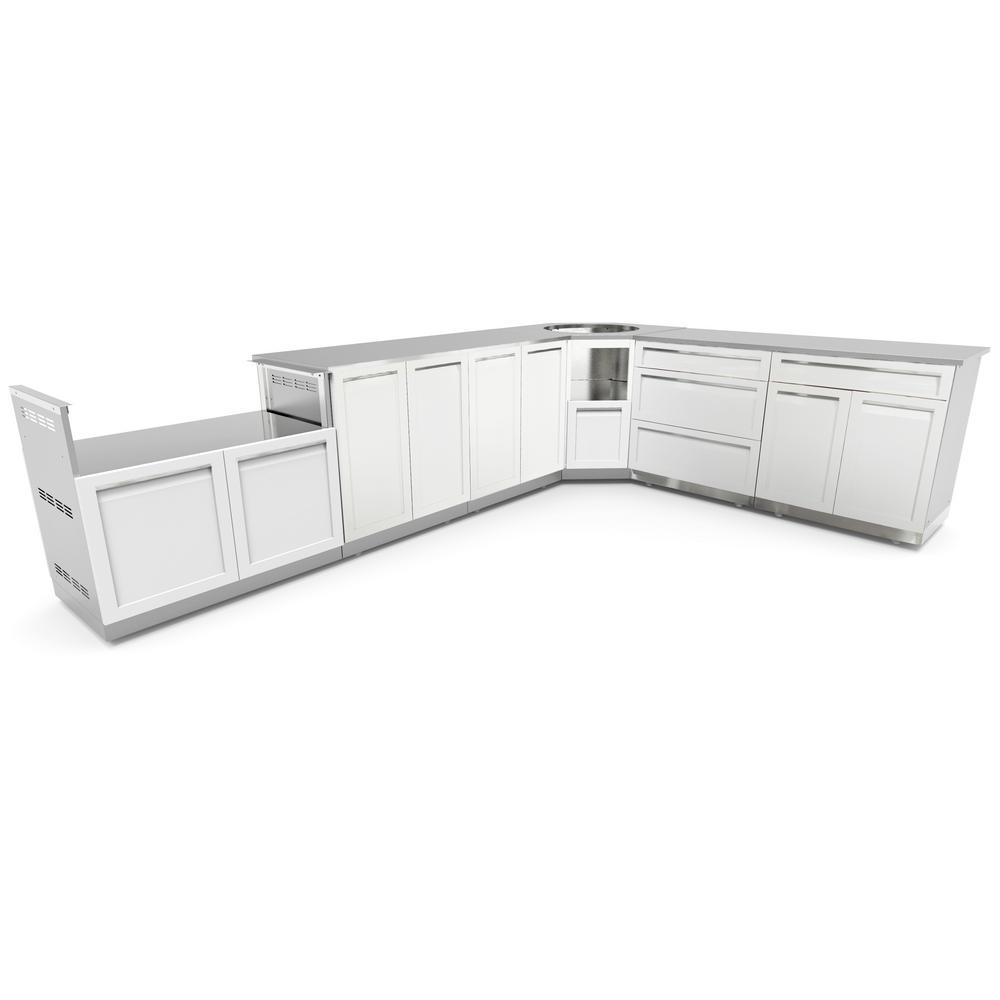 Stainless Steel 8 Piece 206x36x34 In. Outdoor Kitchen BBQ Cabinet Set With  Powder Coated Doors In White