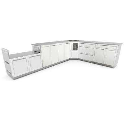 Stainless Steel 8-Piece 206x36x34 in. Outdoor Kitchen BBQ Cabinet Set with Powder Coated Doors in White