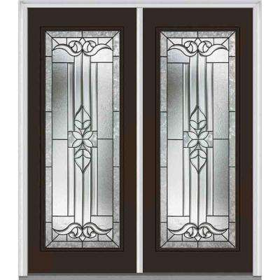64 in. x 80 in. Cadence Right-Hand Inswing Full Lite Decorative Glass Painted Fiberglass Smooth Prehung Front Door