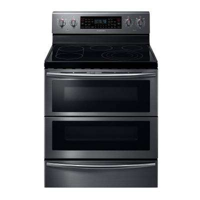 30 in. 5.9 cu. ft. Flex Duo Double Oven Electric Range with Self-Cleaning Convection Dual Door Oven in Black Stainless