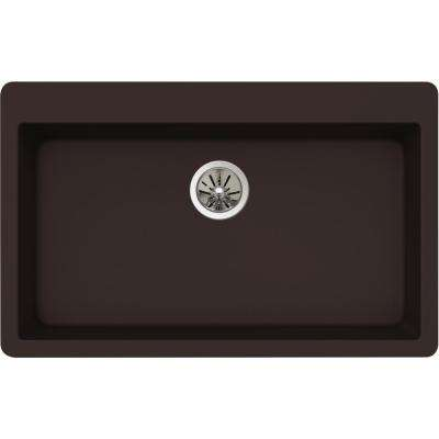 Premium Quartz Drop-In Composite 33 in. Single Bowl Kitchen Sink in Chestnut