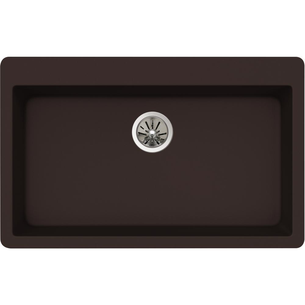 Quartz Luxe Drop-In Composite 33 in. Single Bowl Kitchen Sink in Chestnut