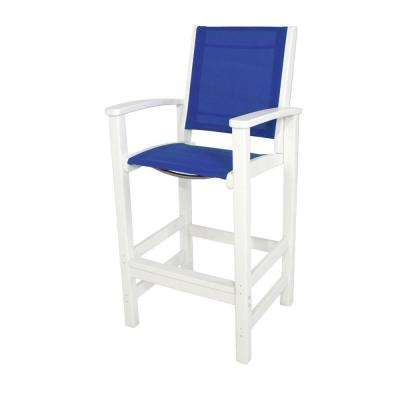 Coastal White All-Weather Plastic Outdoor Bar Chair in Royal Blue Sling