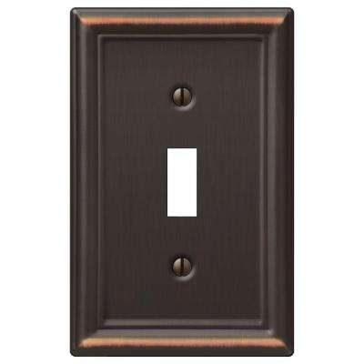Ascher 1 Toggle Wall Plate - Aged Bronze Stamped