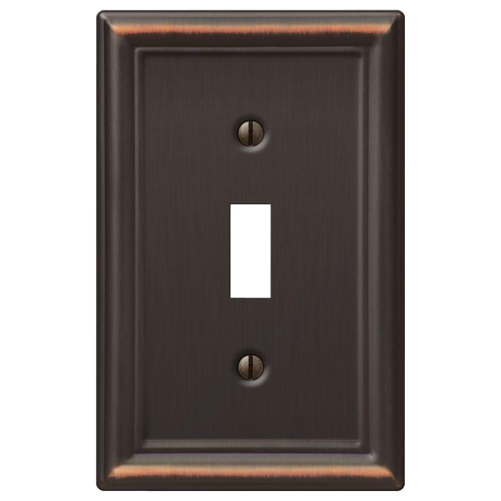 Ascher 1 Toggle Wall Plate in Aged Bronze Stamped (2-Pack)