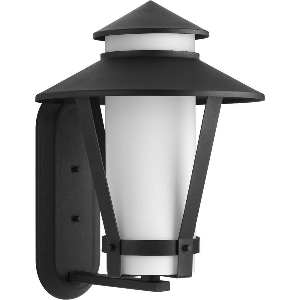 Progress Lighting Via Collection 1 Light Black Fluorescent 16 6 In Outdoor Wall Lantern Sconce