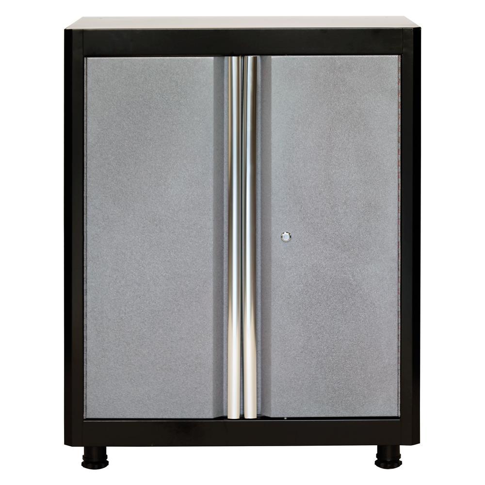 American Heritage 36 in. H x 30 in. W x 18 in. D Steel Base Cabinet in Black/Multi-Granite