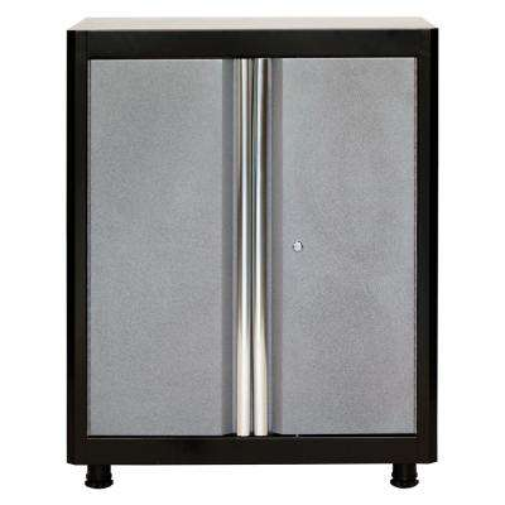36 in. H x 30 in. W x 18 in. D Steel Base Cabinet in Black/Multi-Granite