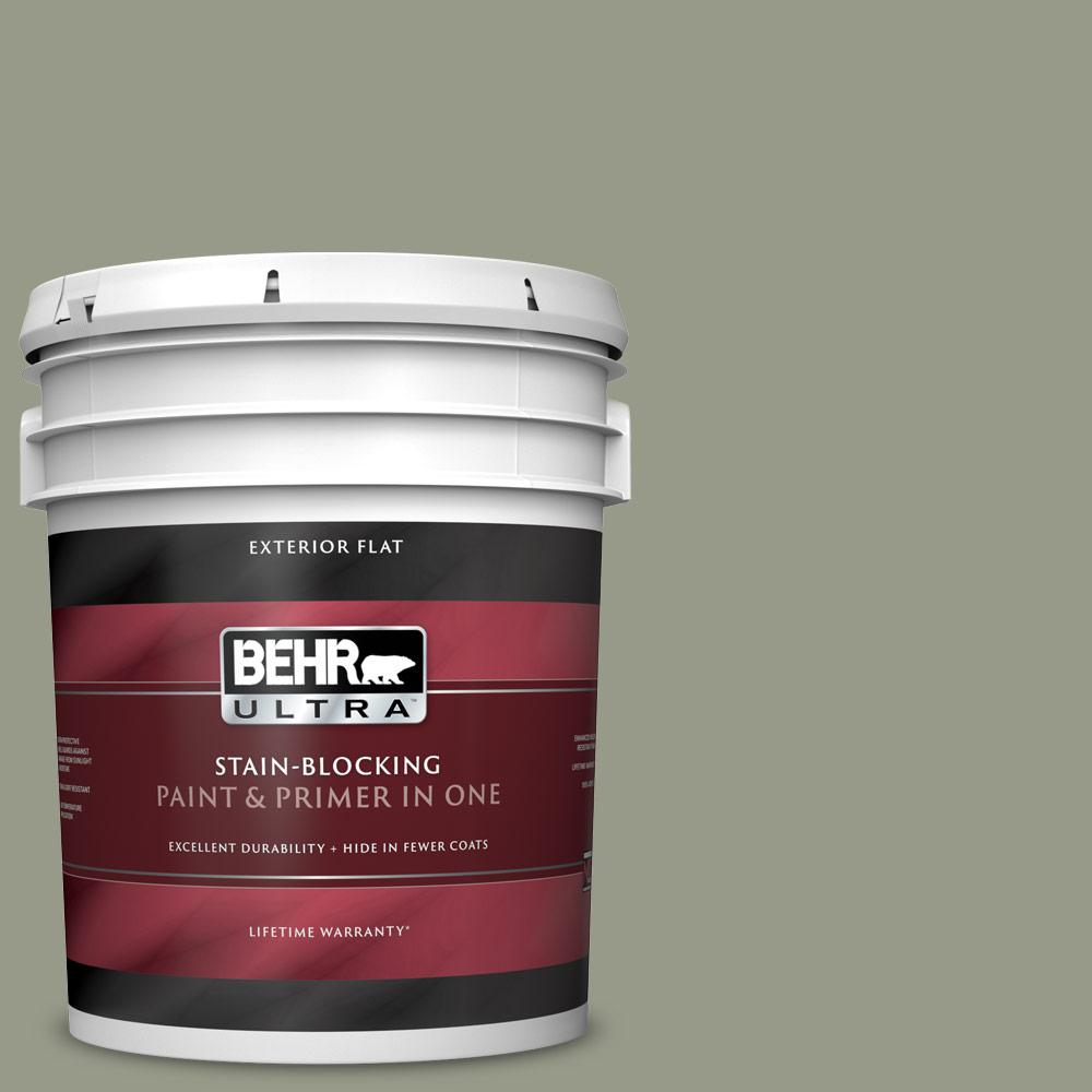 BEHR ULTRA 5 gal  #BNC-27 Aged Eucalyptus Flat Exterior Paint and Primer in  One