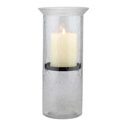 12 in. H Glass Hammered Hurricane Candle Holder with Gunmetal Tray