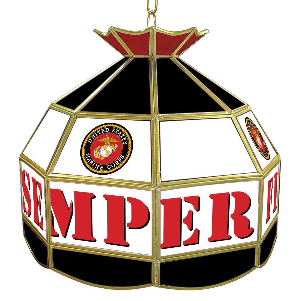 Trademark Global United States Marine Corps 16 in. Gold Hanging Tiffany Style Lamp