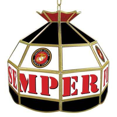 United States Marine Corps 16 in. Gold Hanging Tiffany Style Lamp