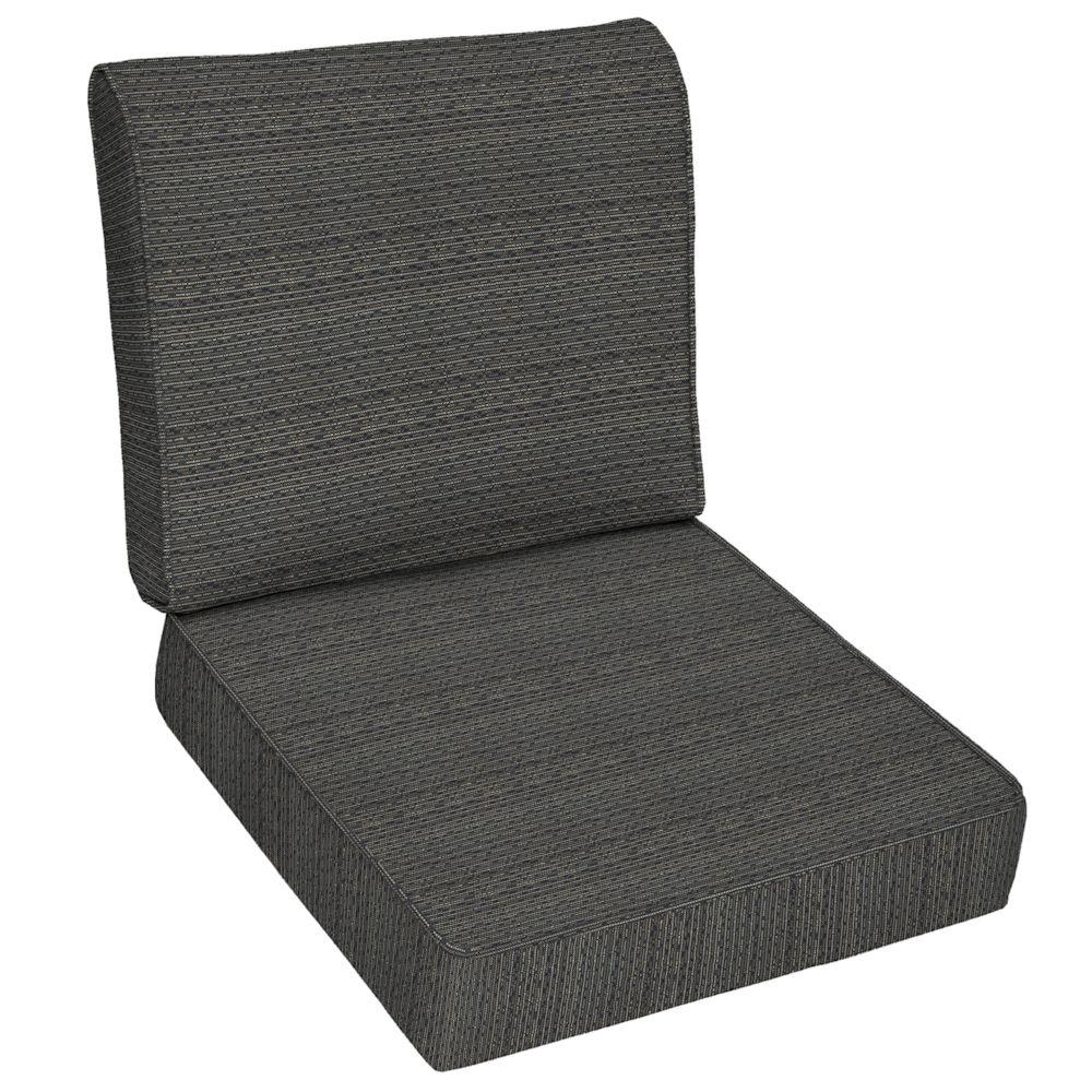 Hampton Bay Bentley Texture Outdoor Deep Seat Cushion Set-DISCONTINUED