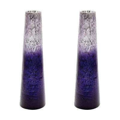 Ombre 16 in. Glass Snorkel Decorative Vase in Plum (Set of 2)
