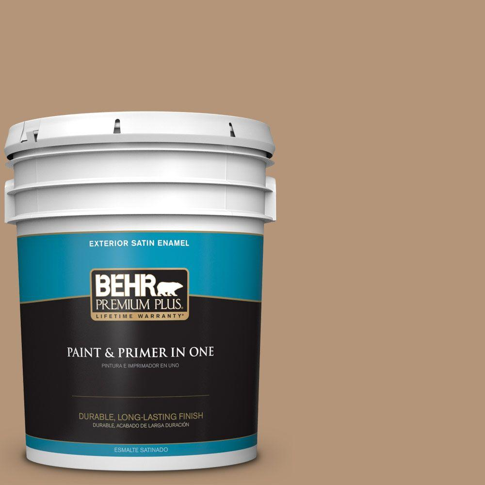 BEHR Premium Plus 5-gal. #280F-4 Burnt Almond Satin Enamel Exterior Paint