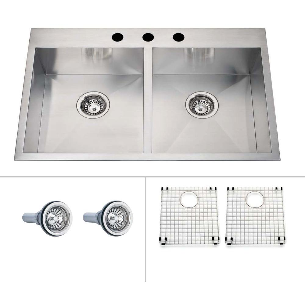ECOSINKS Acero Ultra Premium Combo Dual Mount Drop-in Stainless Steel 3-Hole Double Bowl Kitchen Sink Creased Bottom-DISCONTINUED