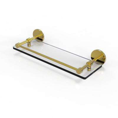 16 in. Tempered Glass Shelf with Gallery Rail in Unlacquered Brass