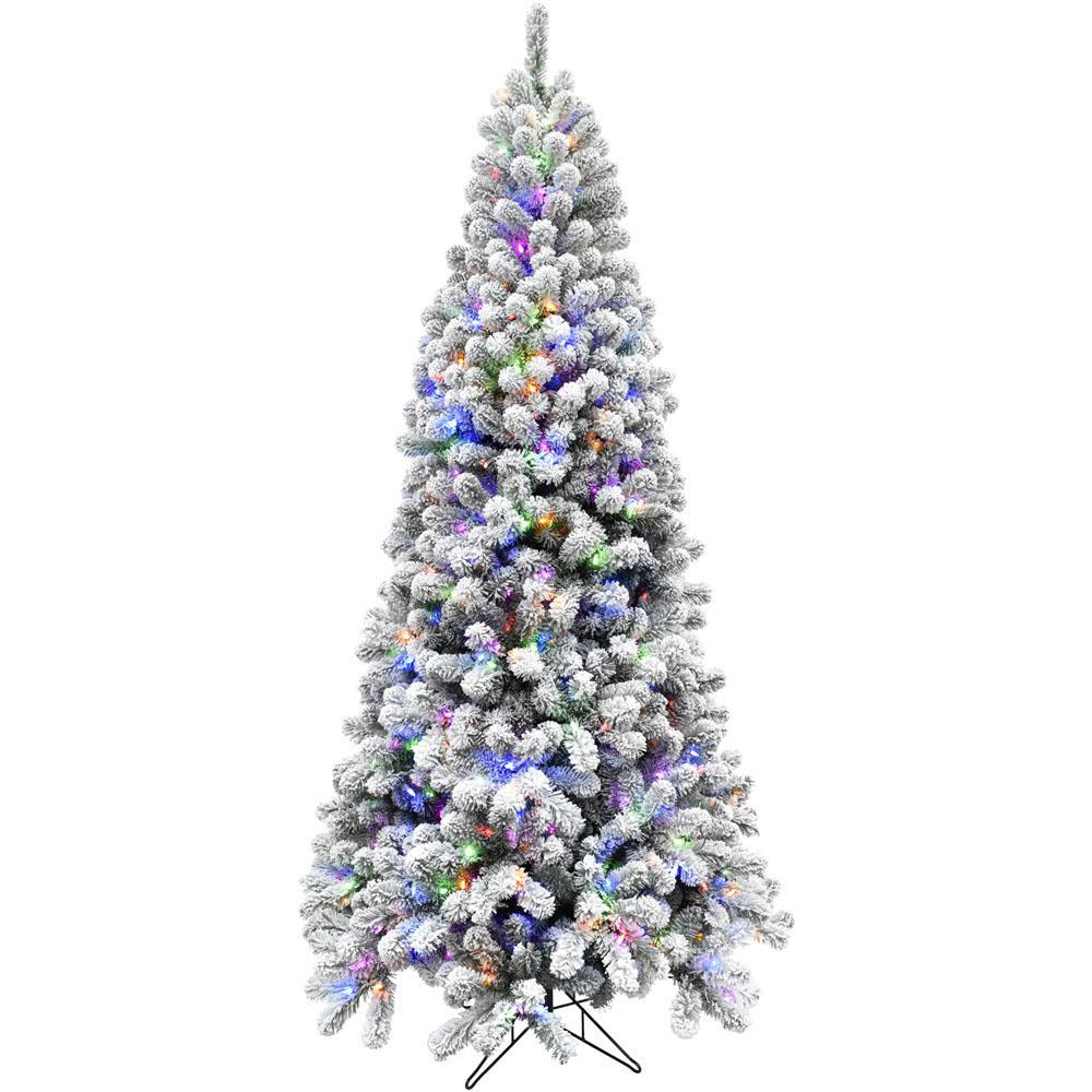 7.5 ft. Flocked Alaskan Pine Christmas Tree with Multi-Color LED String Lighting