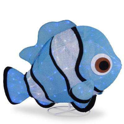 38 in. Tinsel Fabric Blue Fish with Cool White LED