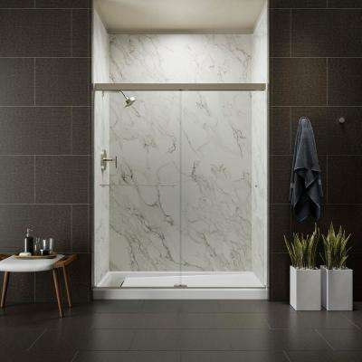 Revel 59-5/8 in. W x 70 in. H Frameless Sliding Shower Door in Anodized Brushed Nickel with Handle