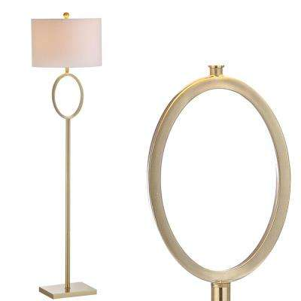 April 61 in. H Brass Metal Floor Lamp