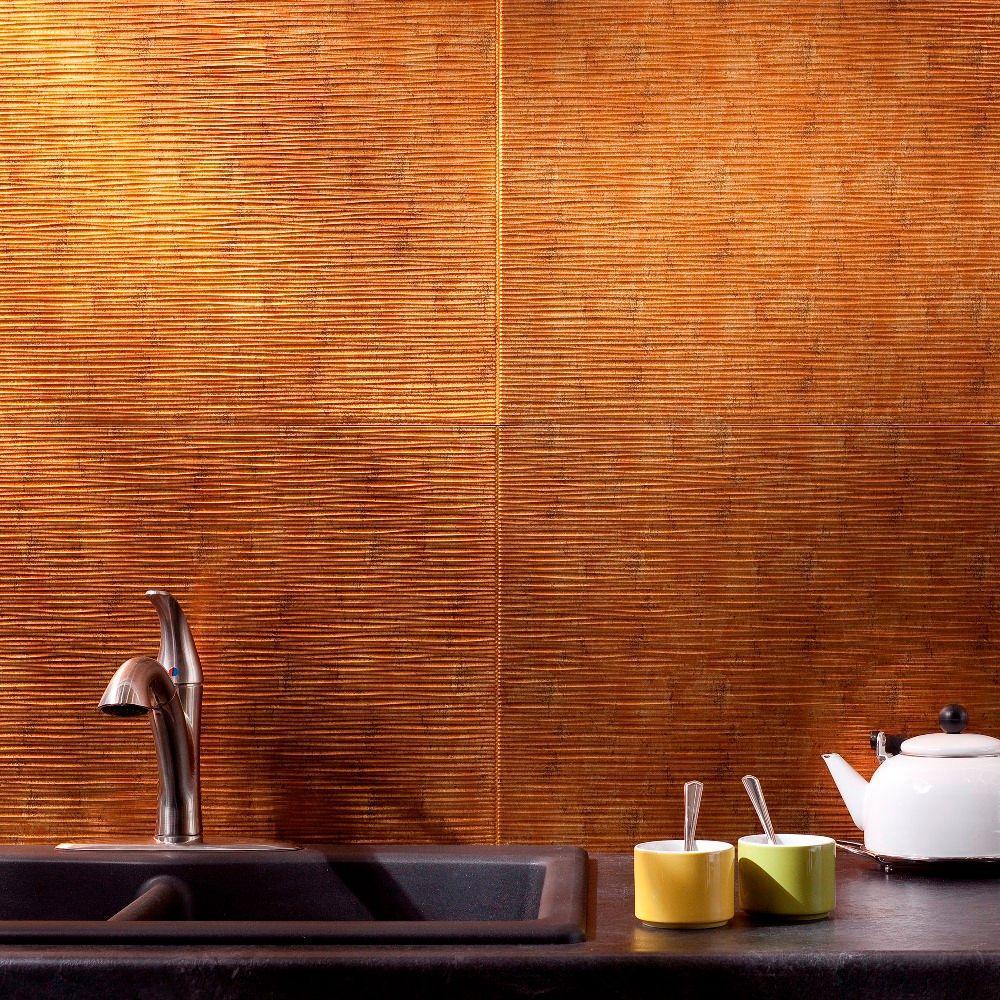 24 in. x 18 in. Ripple PVC Decorative Backsplash Panel in Muted Gold
