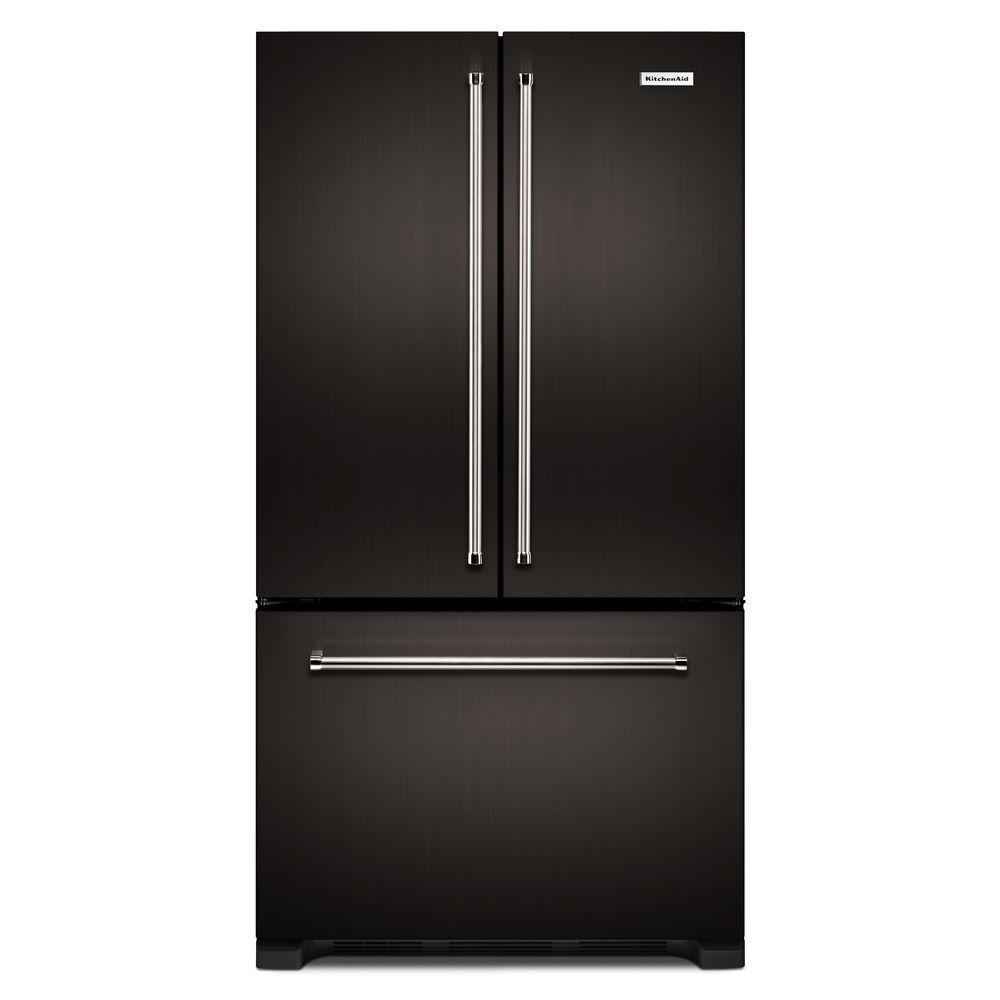 Kitchenaid 219 Cu Ft French Door Refrigerator In Black Stainless
