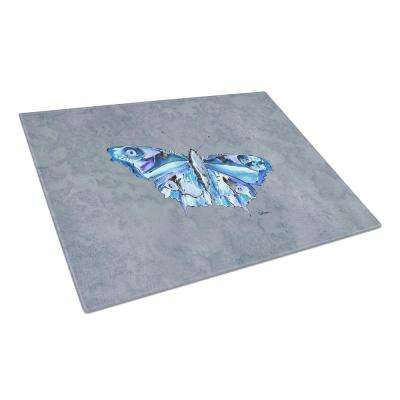 Butterfly on Gray Tempered Glass Large Cutting Board