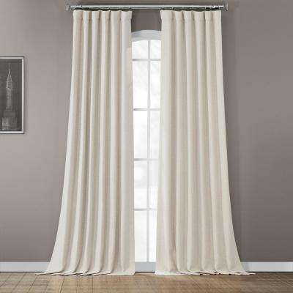 Semi-Opaque Oat Cream Bellino Blackout Curtain - 50 in. W x 108 in. L (Panel)