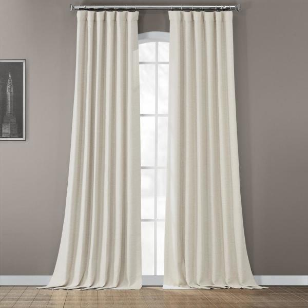 Semi-Opaque Oat Cream Bellino Blackout Curtain - 50 in. W x 120 in. L (Panel)