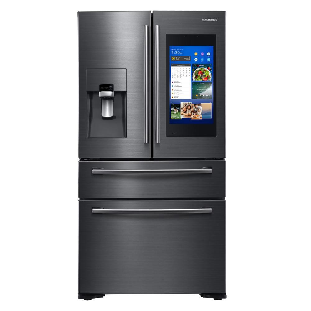 21.9 cu. ft. Family Hub 4-Door French Door Smart Refrigerator in Fingerprint Resistant Black Stainless, Counter Depth