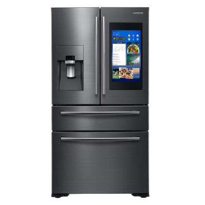 21.9 cu. ft. Family Hub 4-Door French Door Smart Refrigerator in Fingerprint Resistant Black Stainless, Counter Depth