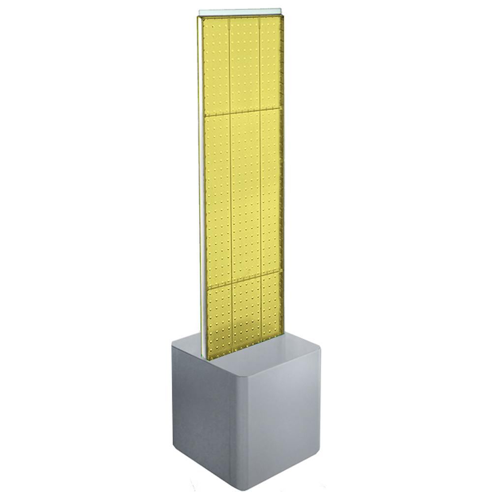 Azar Displays 60 in. H x 13.5 in. W 2-Sided Pegboard Floor Display with Silver Studio Base
