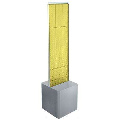 60 in. H x 13.5 in. W 2-Sided Pegboard Floor Display with Silver Studio Base